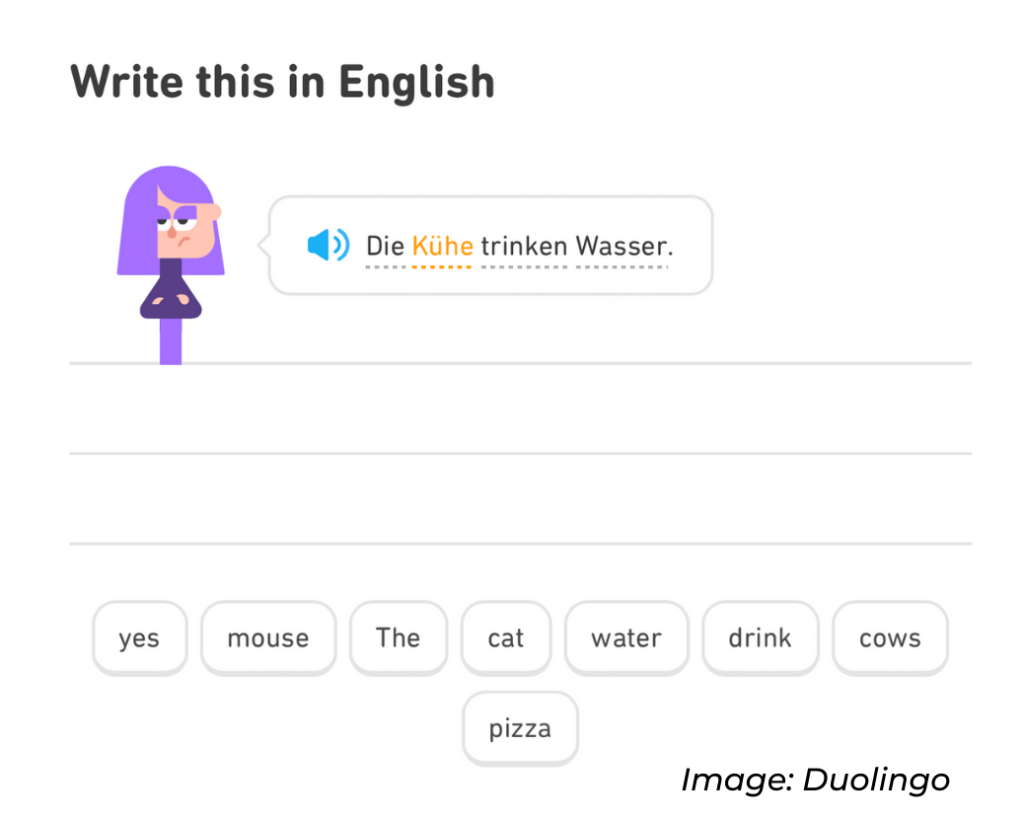"A Duolingo ""word bank."""